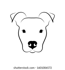 Cute dog head front view. Staffordshire Terrier portrait. Black linear sketch on white background. Vector illustration