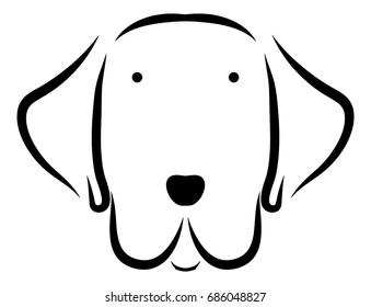 Cute dog head line art drawing