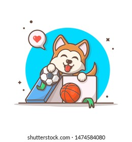 Cute Dog Holding BasketBall and Soccer Ball Vector Illustration. Sport Logo Mascot. Cute Pet in Box Icon.Flat Cartoon Style Suitable for Web Landing Page, Banner, Flyer, Sticker, Wallpaper, Background