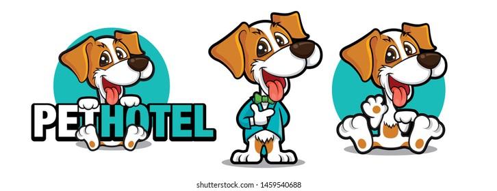 Cute dog holding a big signboard, Cute dog mascot series. Dog wears tuxedo with bowtie. Dog waving hand. Pet hotel -  vector illustration mascot logo