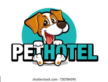 Cute dog holding a big signboard, pet hotel vector illustration logo
