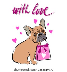 """Cute dog holding a pink gift bag. Pink hearts and the inscription """"With love"""""""