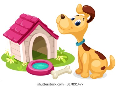 Cute dog with dog house