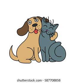 cute dog hugs cat. vector illustration.