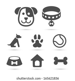 Cute dog icons set isolated on white. Vector element