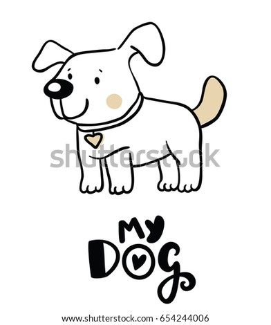 Cute Dog Illustration Stock Vector Royalty Free 654244006