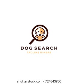 cute dog inside magnifier glass searching icon logo template vector illustration