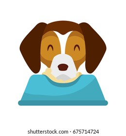 cute dog mascot with dish food