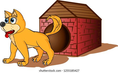 Cute dog near it`s booth protects house from burglars. Cartoon vector isolated on white background.