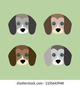 Cute dog on green background. The beagle. Vector illustration in cartoon style.