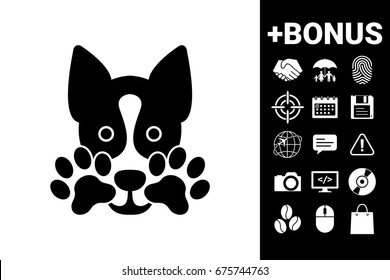 Cute Dog, paw - logo, symbol, protect sign