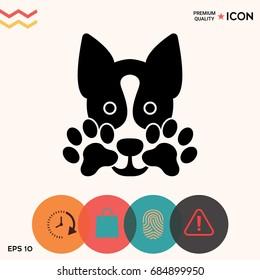Cute Dog, paw - logo, symbol, protect sign
