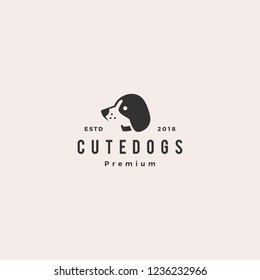 cute dog pet puppy logo vector hipster retro vintage label illustration icon