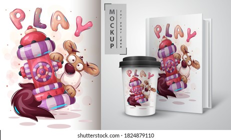 Cute dog - poster and merchandising. Vector eps 10