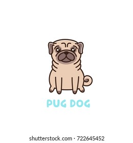 Cute dog of pug breed. It can be used for sticker, patch, phone case, poster, t-shirt, mug and other design.