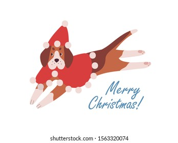 Cute dog in red cape and Santa hat cartoon illustration. Merry Christmas vector greeting card design element. Charming beagle with wintertime wishes. Winter season congratulations postcard design.