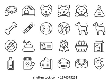 cute dog related icon set such as collar, pet not allowed sign, bowl, medicine, grooming equipment, outline editable stroke