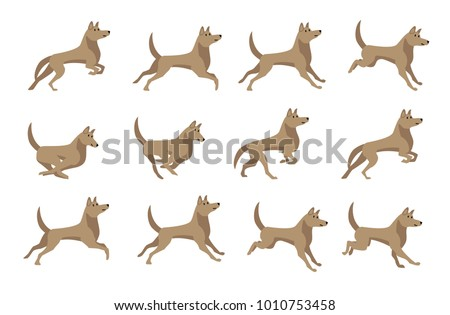 Cute Dog Running Sprite Games Stock Vector Royalty Free 1010753458