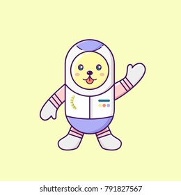 cute dog say hello in astronaut uniform, kawaii dog waving hand in space wear astronout capsule