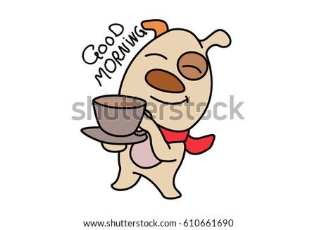 Cute Dog Saying Good Morning Vector Stock Vector Royalty Free