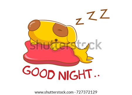 Cute Dog Saying Goodnight Vector Illustration Stock Vector Royalty