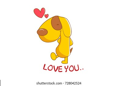 Cute Dog saying Love You. Vector Illustration. isolated on white background.