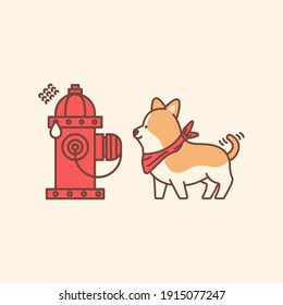cute dog and scared hydrant illustration