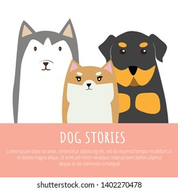 Cute dog set include Rottweiler, Shiba Inu, Siberian Husky colorful cartoon illustration flat vector graphic design.