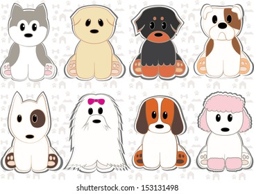 Cute dog set stickers. Different breeds of dogs. Vector