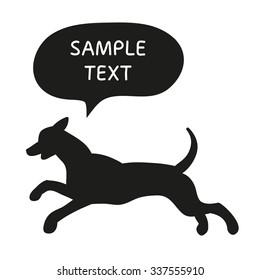 Cute Dog Silhouette With Speech Bubble. Beautiful vector design.