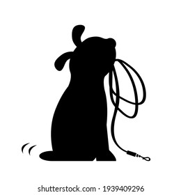 A cute dog sits and holds a leash in his teeth. Asks to take a walk. Black silhouette. Vector isolated cartoon illustration