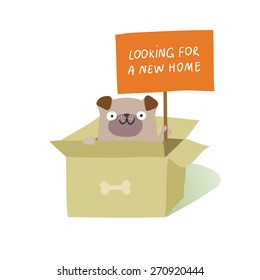 """Cute dog sitting in cardboard box and holding a placard """"Looking for a new home"""". Animal rights protection concept. Vector colorful illustration isolated on white"""