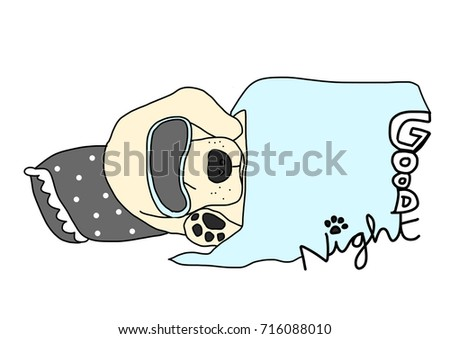 Cute Dog Sleep Mask Sleeping Happily Stock Vector Royalty Free