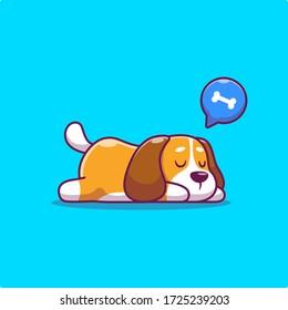 Cute Dog Sleeping Vector Icon Illustration. Animal Icon Concept Isolated Premium Vector. Flat Cartoon Style
