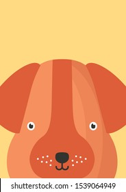 Cute dog snout flat vector illustration. Adorable pet face background in cartoon style. Funny close up doggy brown head decorative childish backdrop. Kids card design with animal funny muzzle.