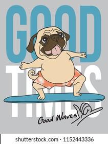 Cute dog surfing vector design