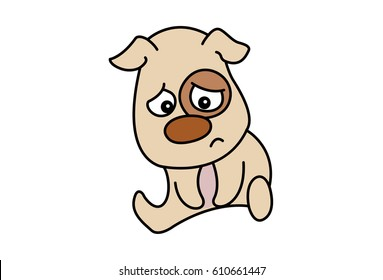 Cute Dog Upset. Vector Illustration. Isolated on white background.