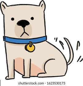 cute dog wagging tail,hand drawn crayon illustration,vector