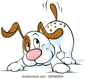 Cute dog wags his tail and wants to play, funny dog, playful dog, cartoon dog, dog isolated, white and brown dog - vector illustration