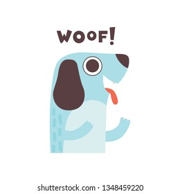 Cute Dog Woofing, Funny Cartoon Pet Animal Making Woof Sound Vector Illustration