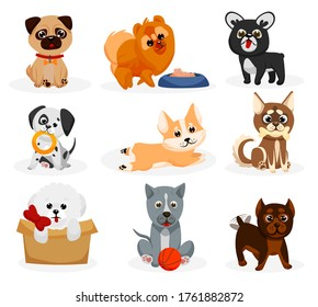 Cute doggy set. Isolated playful dog puppies of different breeds icons. Cute cartoon doggy pet animal characters sitting, playing, eating. Bulldog, pug, chow chow, Dalmatian, corgi collection