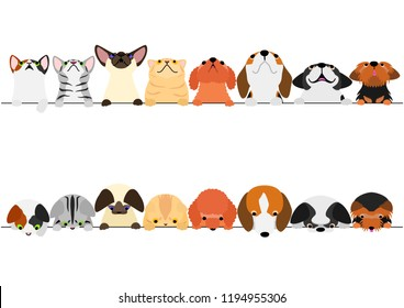 cute dogs and cats looking up and down border set