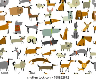 Cute dogs collection, seamless pattern for your design