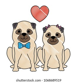 cute dogs couple lovers with hearts characters
