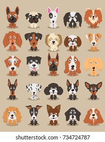 Cute dogs  different breeds of dogs illustration