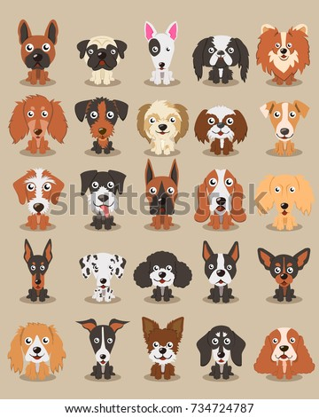 Cute Dogs Different Breeds Dogs Illustration Stock Vector Royalty