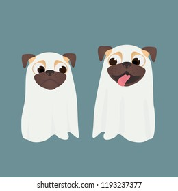 Cute dogs dress up ghost suit. Little happy and scared pug puppys in Halloween costume. Ghost Costumes for Dogs. Vector cartoon illustration.