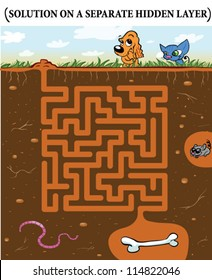 Cute Dog's Maze Game (help dog find his buried bone) Maze puzzle with solution