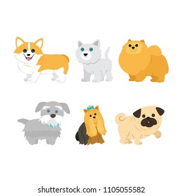 Cute dogs on white background.The welsh corgi, pug, Spitz, Yorkshire terrier,husky and mongrel. Vector illustration in cartoon style.