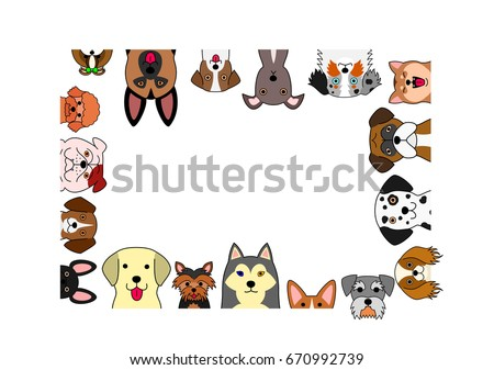 cute dogs rectangle frame